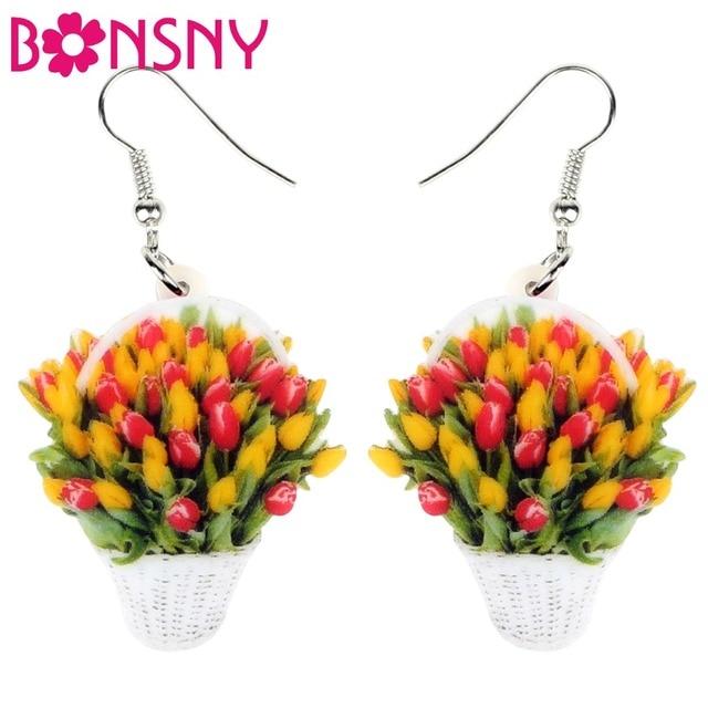 Bonsny Acrílico Cesta De Tulipa Bonsai Planta Flor Brincos Gota Dangle Bonito Encantos Jóias Para As Mulheres Adolescentes Meninas Presente Da Novidade