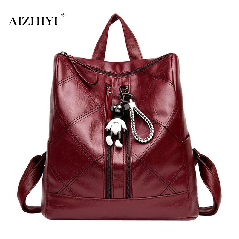 Women Plaid PU Leather Zipper Backpack School Bags For Teenagers Girls Casual Shoulder Top-handle Backpacks Fashion 32x30x15cm 2017 new high quality shoulders bag pu leather women backpack casual school bags for teenagers girls travel backpacks