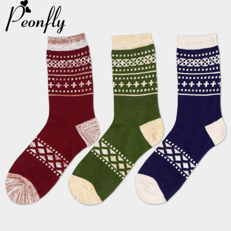 PEONFLY Man Casual Cotton high quality colorful Socks male funny vintage art geometry patterns Stitching long Business Socks