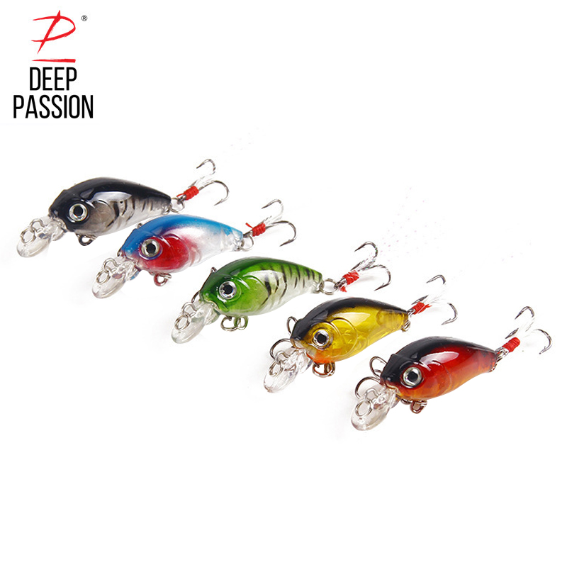 DEEP PASSION 5PC Minnow Crankbait Insect Bait Integrated Fishing Lures Treble Hook Hard Artificial Baits Set Water Popper Lures