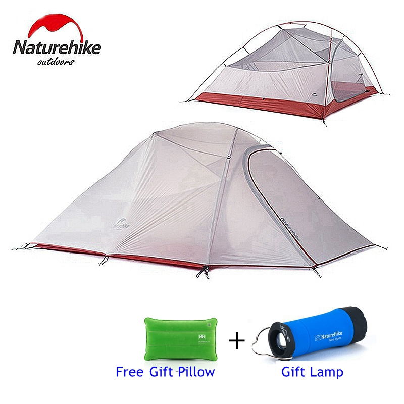 1.8KG Naturehike Tent 3 Person 20D Silicone Fabric Double Layers Rainproof Camping Tent NH Outdoor Tent 4Season outdoor double layer 10 14 persons camping holiday arbor tent sun canopy canopy tent