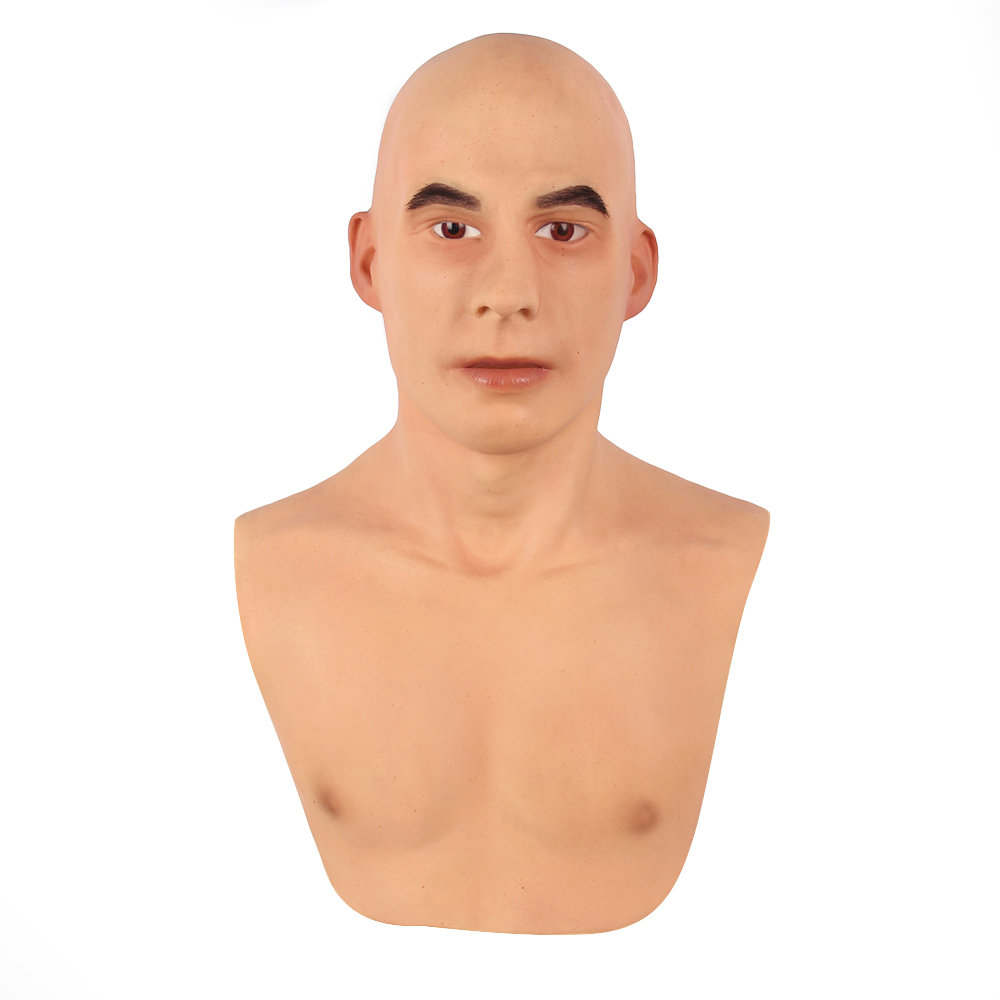 KOOMIHO European Face Silicone Realistic Male Head Crossdresser Mask Handmade Makeup Transgender Mask Cosplay Mask 3G  - buy with discount