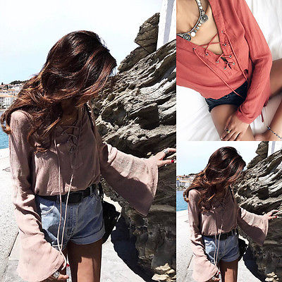 Stylish Women clothes Lady Loose Long Sleeve Shirts V-neck solid pullover Polyester Casual Blouses one pieces