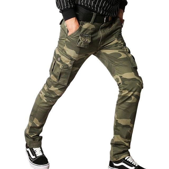 496c65bc9a4d Pantalon Cargo Hommes Militaire Camo Tactique Pantalon Hommes Silm Casual  Pantalon SWAT Combat Pantalon Camouflage Coton