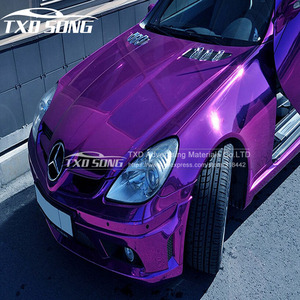 Image 2 - Good quality High stretchable Waterproof UV Protected Purple Chrome Mirror Vinyl Wrap Sheet Roll Film Car Sticker Decal Sheet