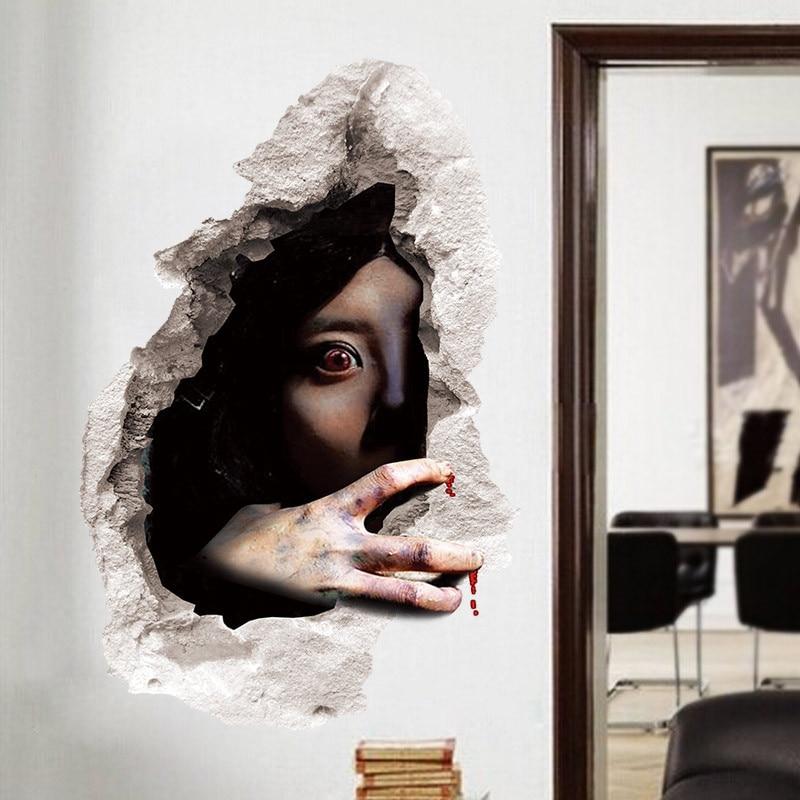 Geist durch ziegel halloween wandaufkleber wohnzimmer for Wand kunst wohnzimmer