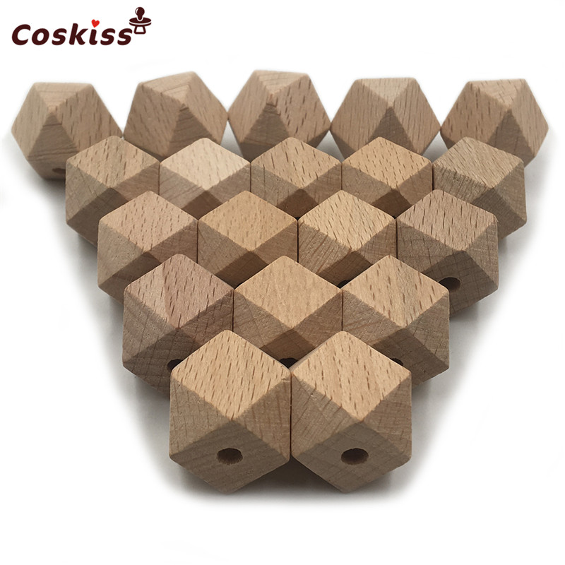 High Quality Faceted Beech Wood Geometric Bead,100pcs 10-20mm Unfinished Natural Polygon Hexagon Wooden Beads For DIY Teether