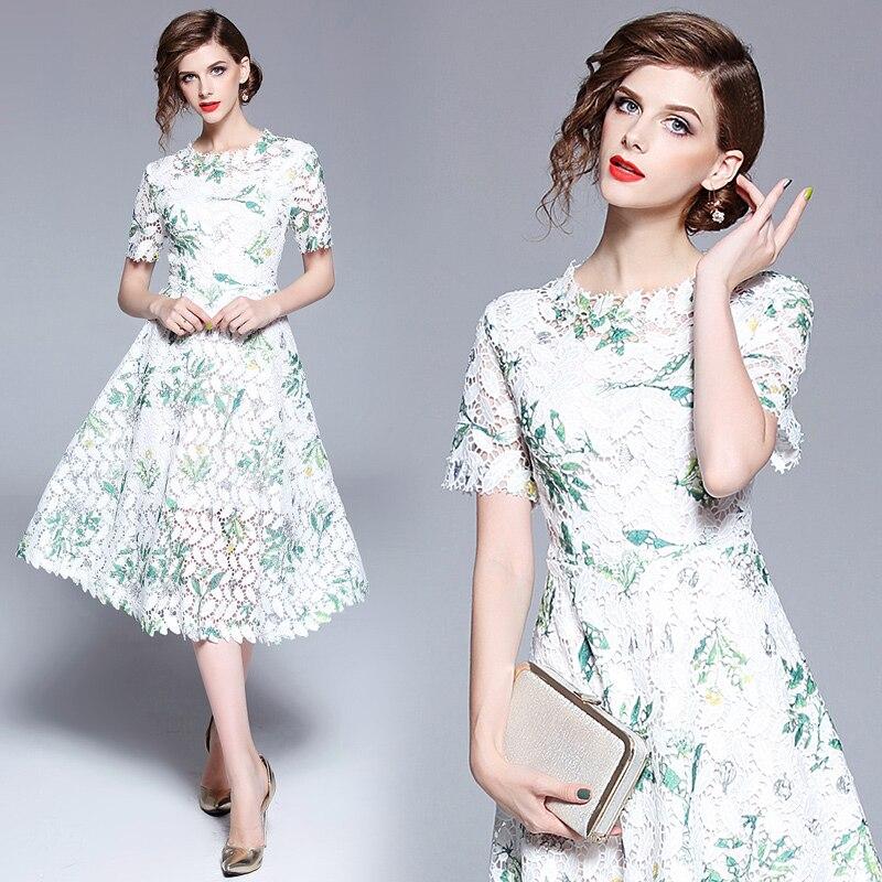 La Haute Robe De Creusent Dehors Parti Élégante Casual Dentelle Vêtements Mode Color Robes À Femmes Mince Qualité Princesse Manches Courtes TqFxrAw5fq