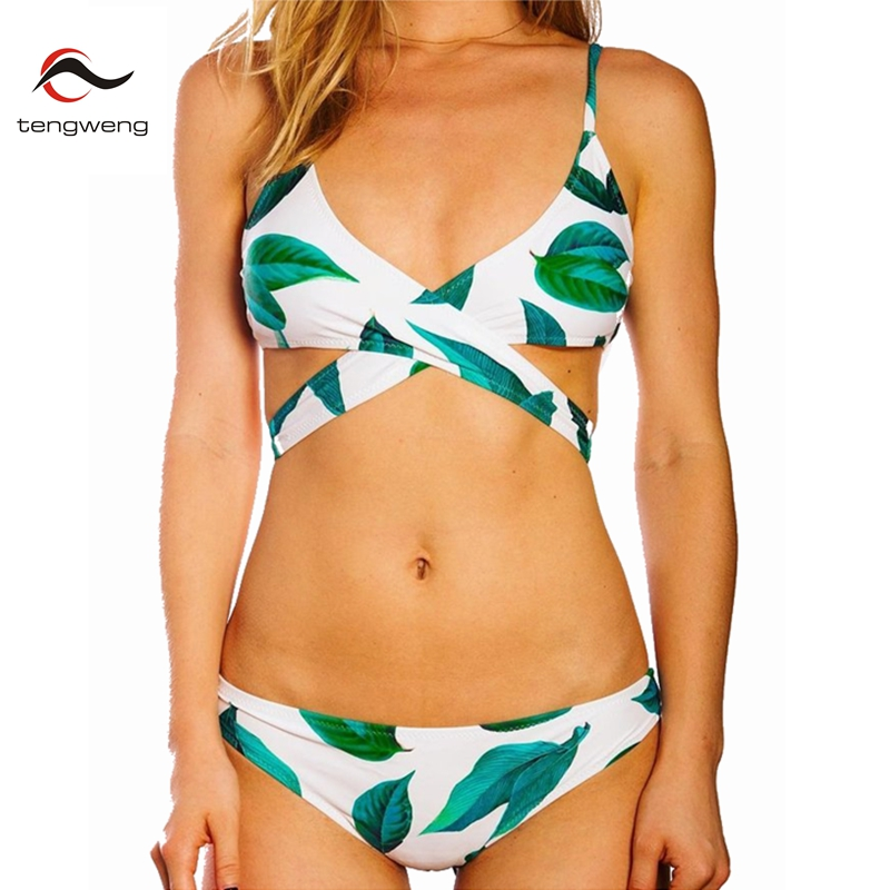 Tengweng 2016 Hot Womens Summer Fresh Leaves Print Cross Padding Bikini Set Sexy Swimsuit BathingSuit Bandage