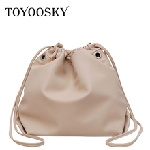 TOYOOSKY Brand design women shoulder bag string bucket Handbags high quality pu leather womens totes simple solid messenger