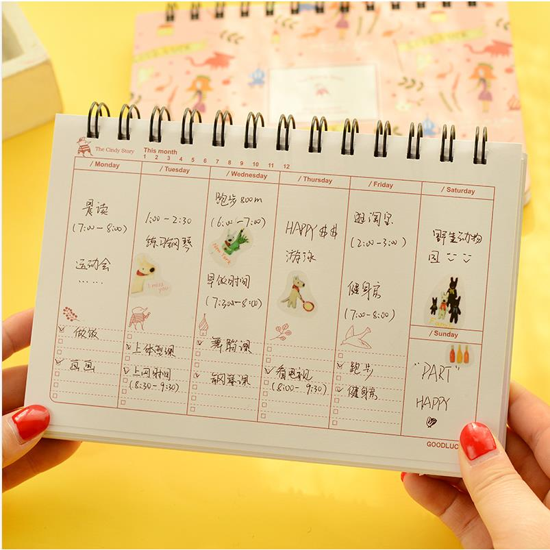 Calendar style flower Coil spiral Cute Sketchbook Bullet journal Notebook paper Weekly Planner Accessories Stationery Diary 1670 все цены