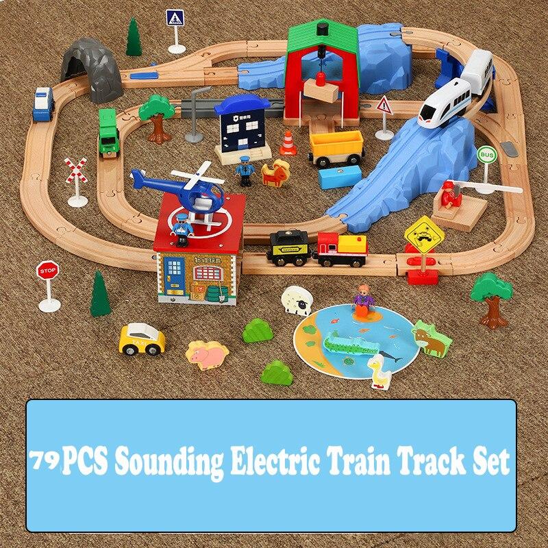 79PCS Magnetic Sound Electric Train Set Multiple Scenes Railway Car Model Puzzles Wooden Train Track Set Brio Toys For Children