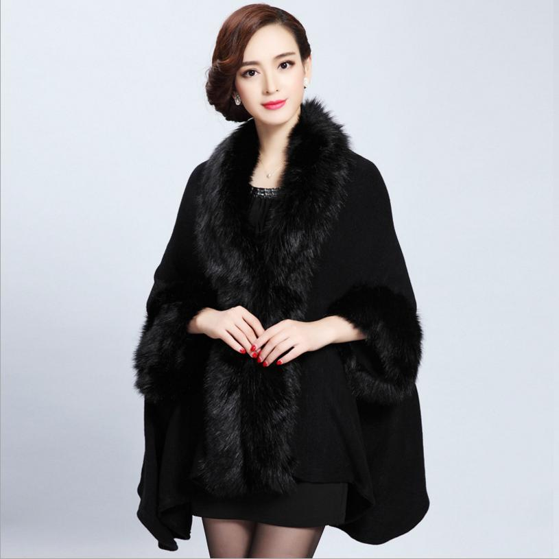 Red purple 2018 Knit Elegant khaki Warm Shawl Female Jacket black Winter Cape Outwearl1139 Cardigan Fur Faux Fashion navy Coat Imitation Fox Women Loose q41UqgK