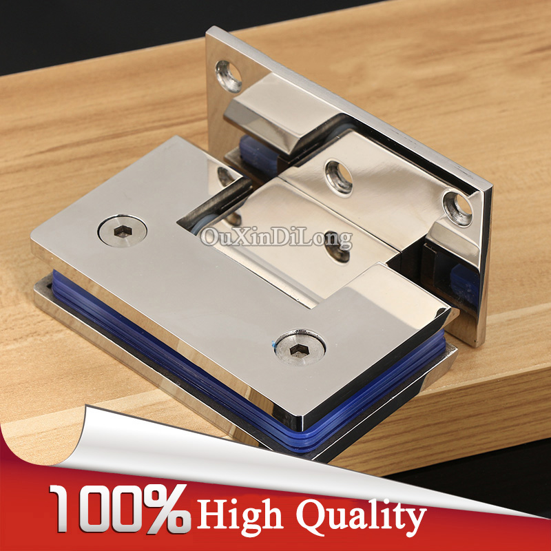 High Quality 2PCS 304 Stainless Steel Frameless Shower Bathroom Glass Door Hinges 90 Degree Wall to Glass Hinges Chrome 90 degree shower door hinge solid copper spring hinges glass to wall fitting glass clamp dc 3041