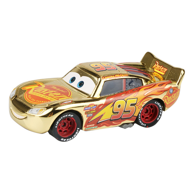 Newest Disney Pixar Cars 3 Gold Lightning Mcqueen Rusteze 1 55