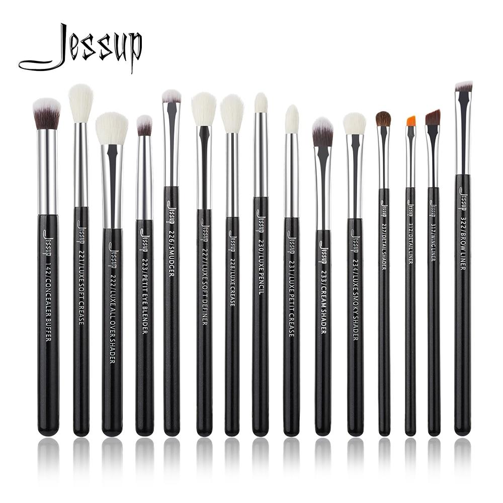 Jessup Marke Schwarz/Silber Professionelle Make-Up Pinsel Set Make up Pinsel Tools kit Eye Liner Shader natürliche-synthetische haar