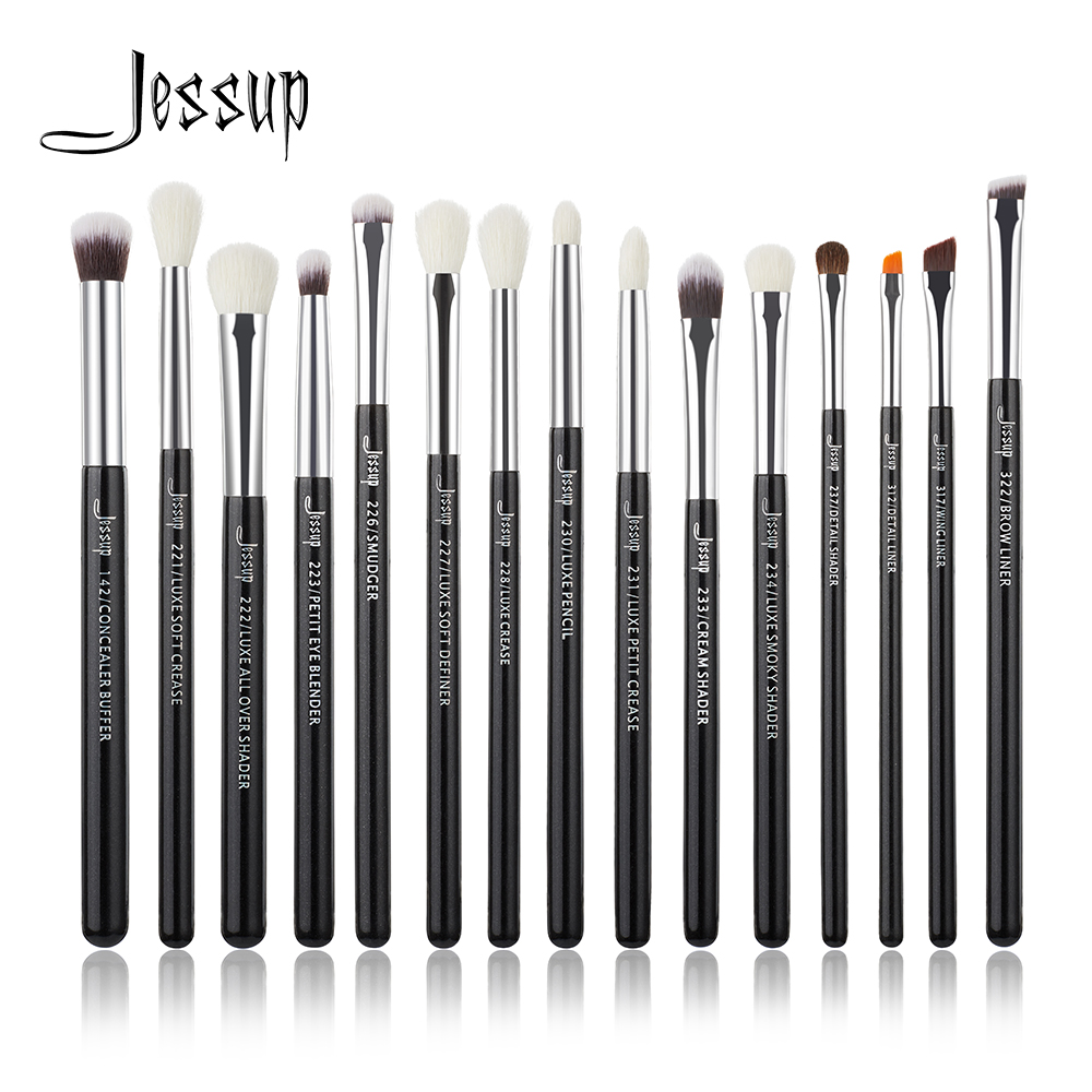 Jessup Marke Schwarz/Silber Professionelle Make-Up Pinsel Set Make up Pinsel Tools kit Eye Liner Shader natürliche-synthetische haar