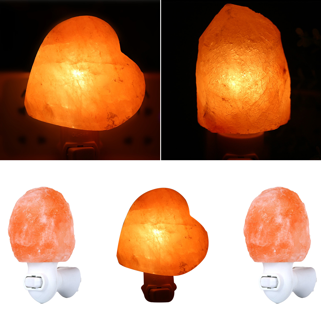 Rotatable Cylinder Himalayan Salt Lamp Air Purifier Crystal Salt Rock Bedside Night Light For Bedroom Corridor 10W EU US Plug