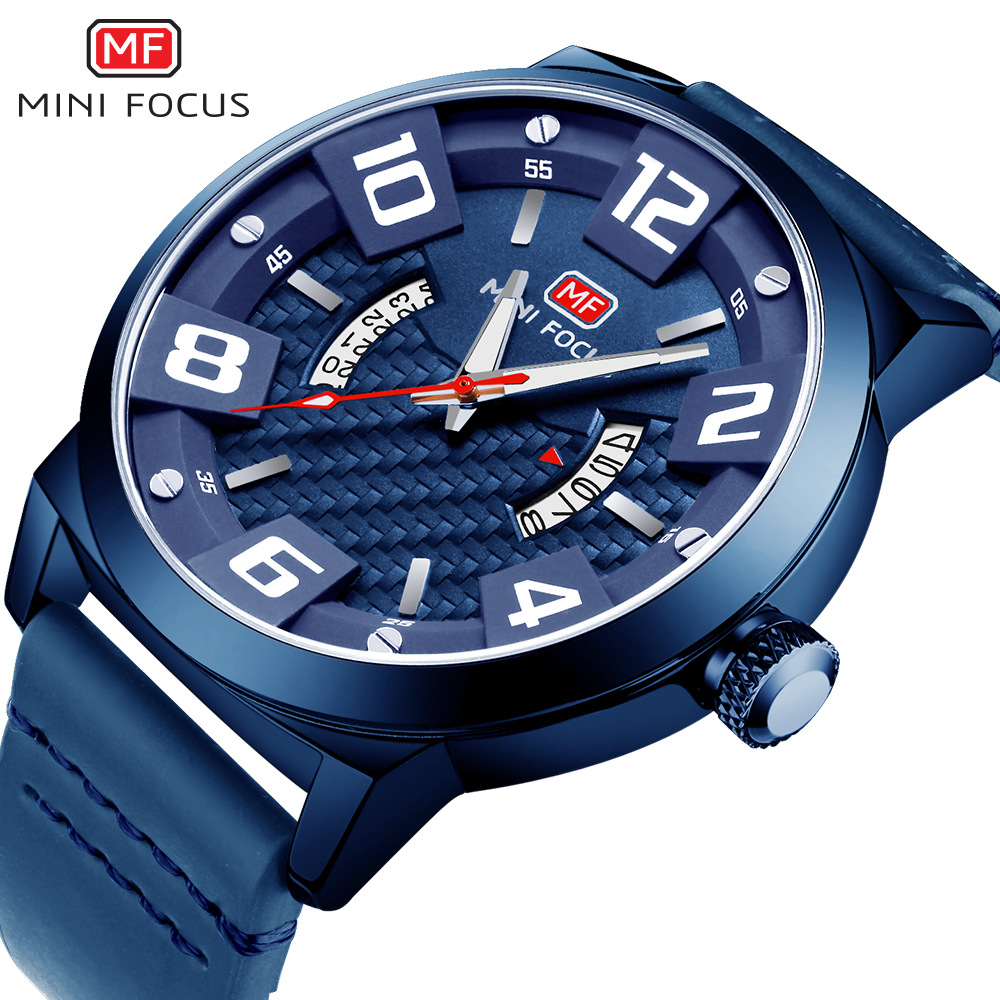 цены man fashion blue wristwatches calendar luminous hand mens watches quartz genuine leather MINI FOCUS brand waterproof male clocks