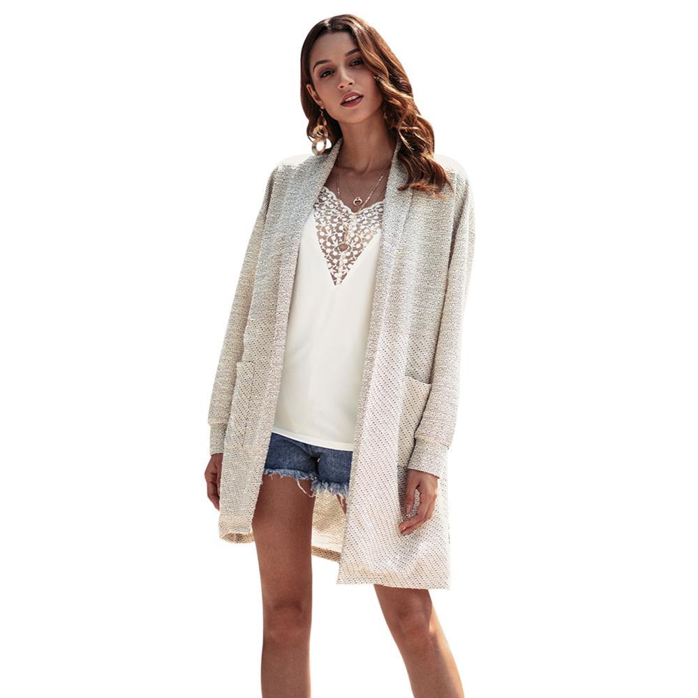 Femme Femelle À 2019 Cardigan Longues Manches Hiver Hc011 Mode Blouson Lâche Pull Pour gris Tricoté Automne Femmes Beige sapphire qf7IO