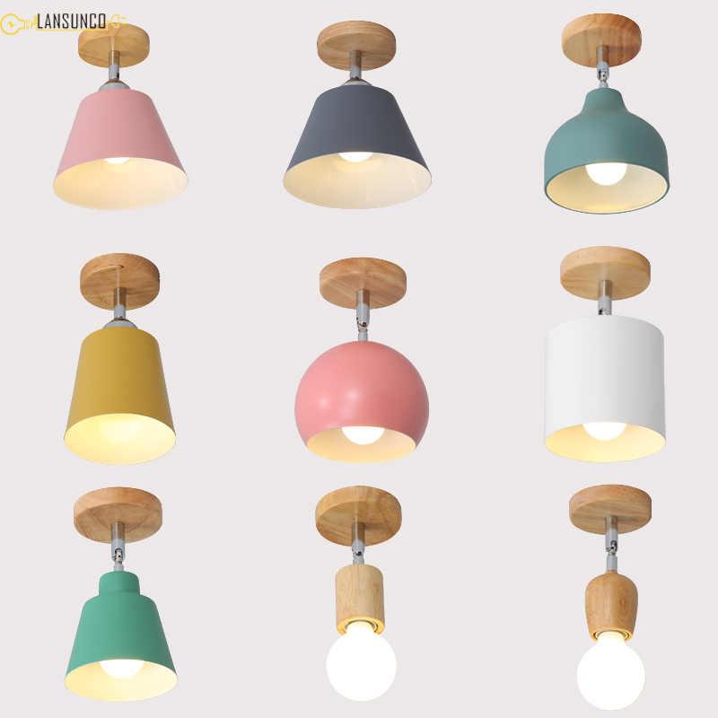 Lampy sufitowe Led Nordic nowoczesne drewno lampa sufitowa
