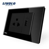 Livolo Us Power Socket With Usb Charger Black Crystal Glass Panel AC 110 250V 16A Wall