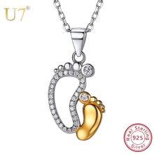 de87e1365ba1 U7 de Plata de Ley 925 CZ cristal grande pequeño bebé pies colgantes  collares para mamá Día de la madre
