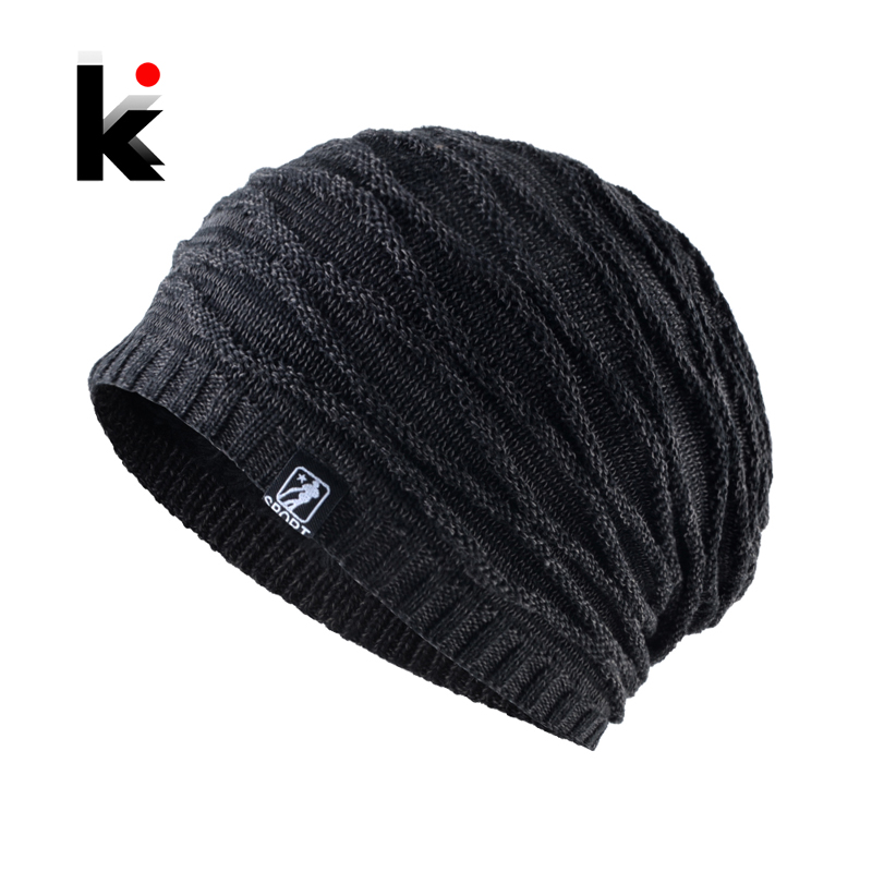 Men's Winter Hat 2018 Fashion Knitted Striped Hats Warm Bonnet Hiver Outdoor Thick Ski   Skullies     Beanies   Men Knitting Gorras Cap