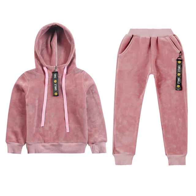 Girl's Velvet Style Sport Suit 2 pcs Set
