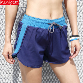 Maryigean Summer Sports Casual Shorts Female Fake Two-piece Anti-lighting Yoga Short Pants Quick-drying Mesh Fitness