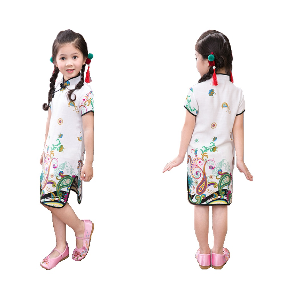 06869f8834a9a4 2018 Baby Girls Dress Floral Chinese Spring Festival Kids Traditional Qipao  Dresses Children Cheongsam Girl Clothes Vestidos Top-in Dresses from Mother  ...