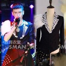 mens stage performance rhinestone beading Hi-lo feather decoration tuxedo jacket stage wear/singing/bar/event ,only jacket