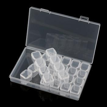 28 Slots /Box New Fashion Useful Clear Plastic Adjustable Jewelry Box Case Craft Beads Nails Rhinestones Organizer Nail Art Accessories