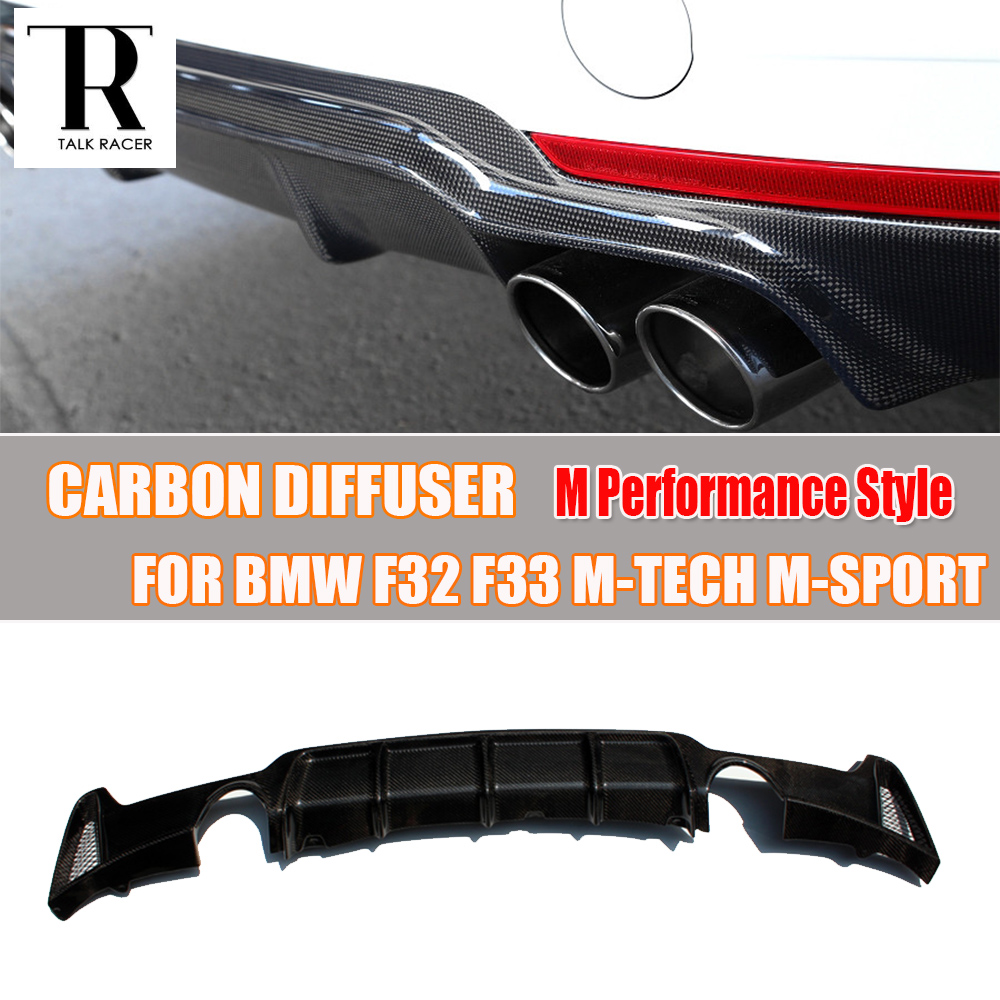 F32 F33 F36 Carbon Fiber Rear Bumper Lip Diffuser Spoiler for BMW F32 F33 F36 420i 428i 435i 420d 428d 435d M-tech M-Sport 2pcs new style m performance side skirt sill decal stripe vinyl sticker for bmw 4 series f32 f33 420i 428i 435i