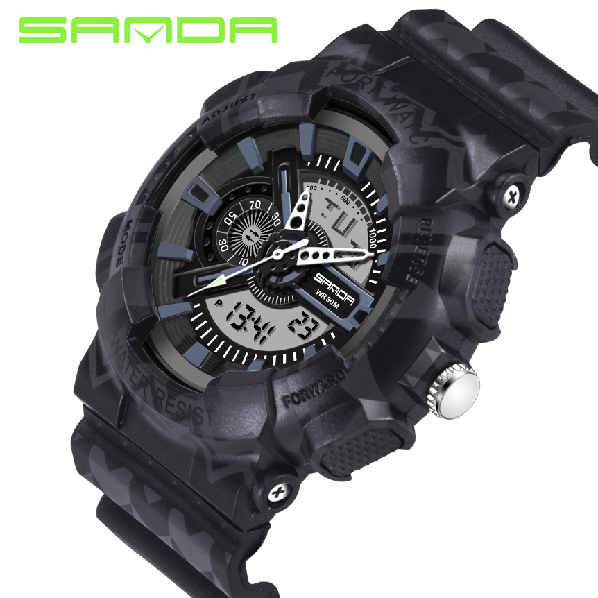 SANDA Brand Chronograph Sports Watches Men Waterproof Silicone Clock Camping Students Fashion Casual Wrist Watch Relogio 2018