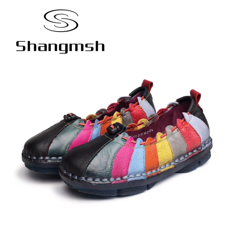Shangmsh Autumn Shoes Genuine Leather Women's Shoes Silp On Shallow Soft Handmade Ladies Loafer Mom Driving Shoe Flats Plus Size women bright leather flats round toe shallow chaussure soft sole ladies shoes low heel spring casual loafer shoe slip on flats