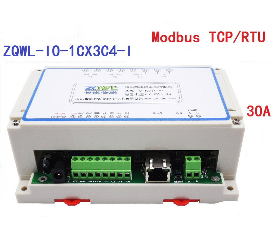 4-Channel Network Relay Control Board 30A RS485 Modbus TCP RTU Industrial Programmable4-Channel Network Relay Control Board 30A RS485 Modbus TCP RTU Industrial Programmable