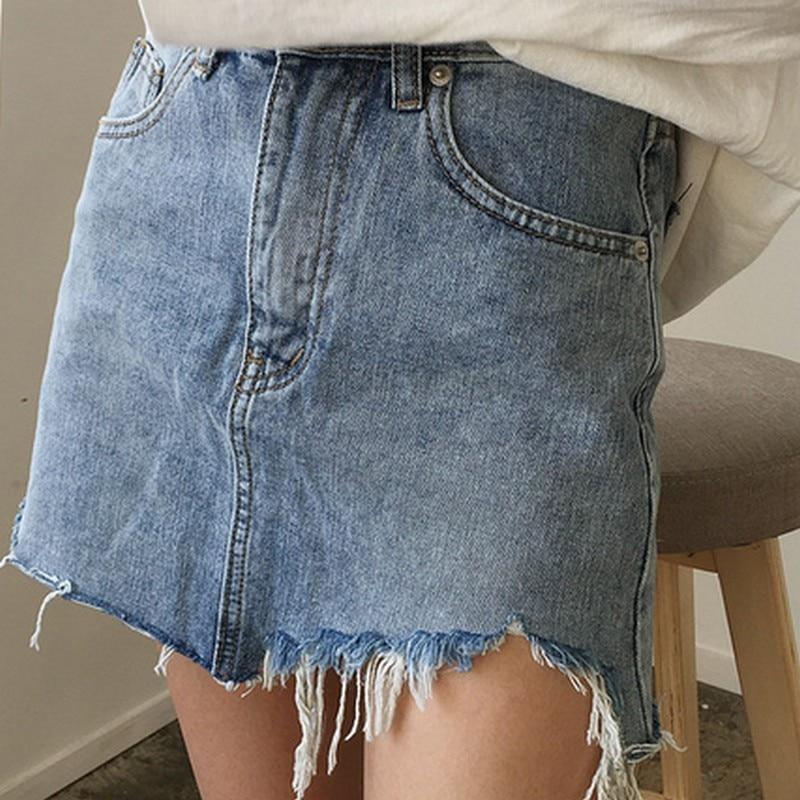 2017 Summer Pencil Skirt High Waist Washed Women Skirts Irregular Edges Denim Skirts All Match Mini Size Womens Skirt
