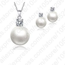 Wholesale Price Top Quality Wedding Jewelry Set Water Pearl Earrings Necklace S90 Silver Pendant Necklace(China)