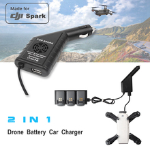 Extra USB Charging Port 2 in 1 DJI Spark Mini RC Quadcopter Drone Battery Car Charger for DJI Spark Battery Cigarette Charger
