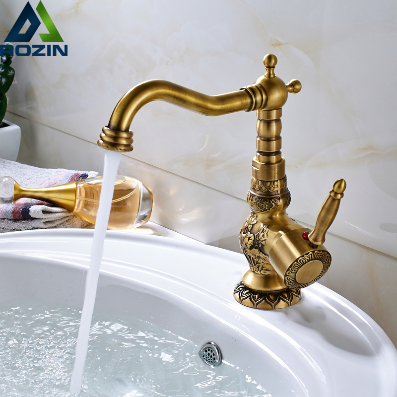 Antique Brass Bathroom Kitchen Faucet Deck Mounted Swivel Neck Basin Vessel Sink Tap Hot And Cold