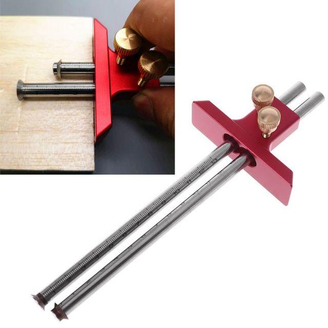Carpintería de marcado de doble cabeza escriba hoja de madera doble marcado en línea, calibrador de herramientas para carpinteros