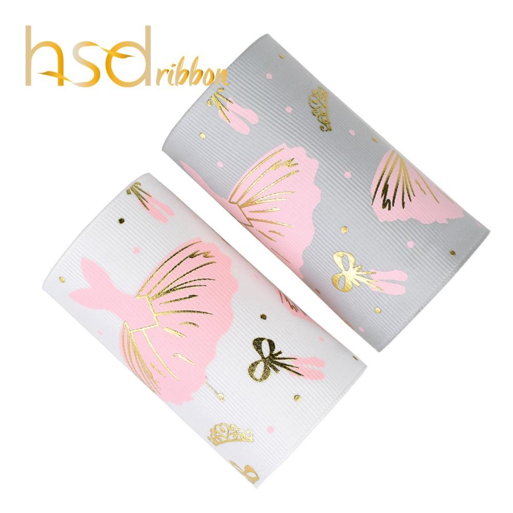HSDRibbon 75 مللي متر 3 بوصة مصمم مخصص نمط تنورة رقص الحبر مع الذهب احباط المطبوعة على Grosgrain الشريط-في أشرطة من المنزل والحديقة على  مجموعة 1