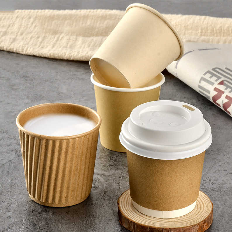 GIEMZA 4 Oz Paper Coffee Cups Single Double Layer Cups Paper Disposable One Time Small Paper Cups Souffle No Lids Party Tool