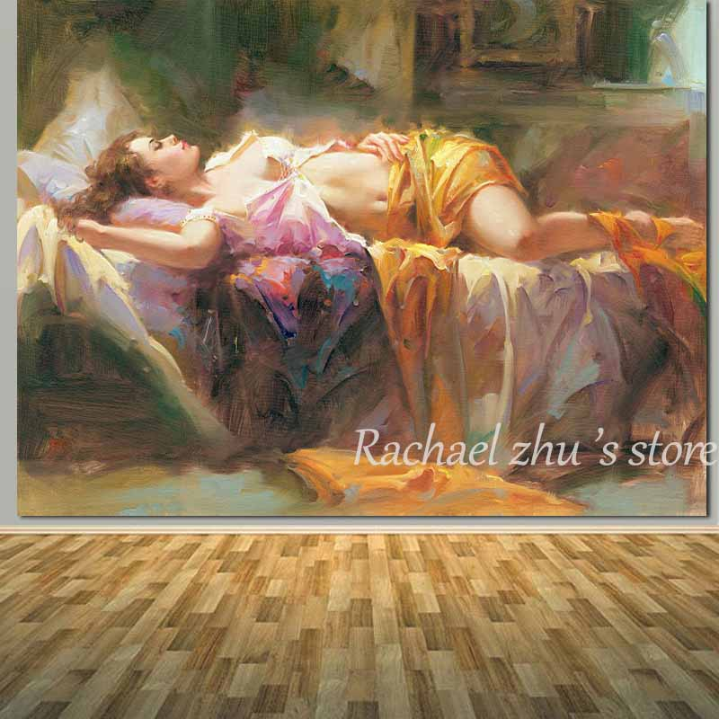 High Quality Classical Art Printing Oil Painting On Canvas Sexy Nude Sleeping Woman -1110