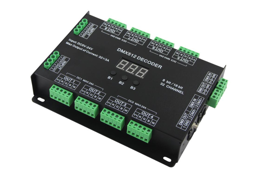 32 Channel 96A RGBW DMX 512 LED Decoder Controller DMX Dimmer DC5-24V RGBW RGB LED light 8 Bit/16 Bit 4 channel 5a rgbw dmx 512 led decoder controller dmx dimmer use for dc12 24v rgbw rgb led light