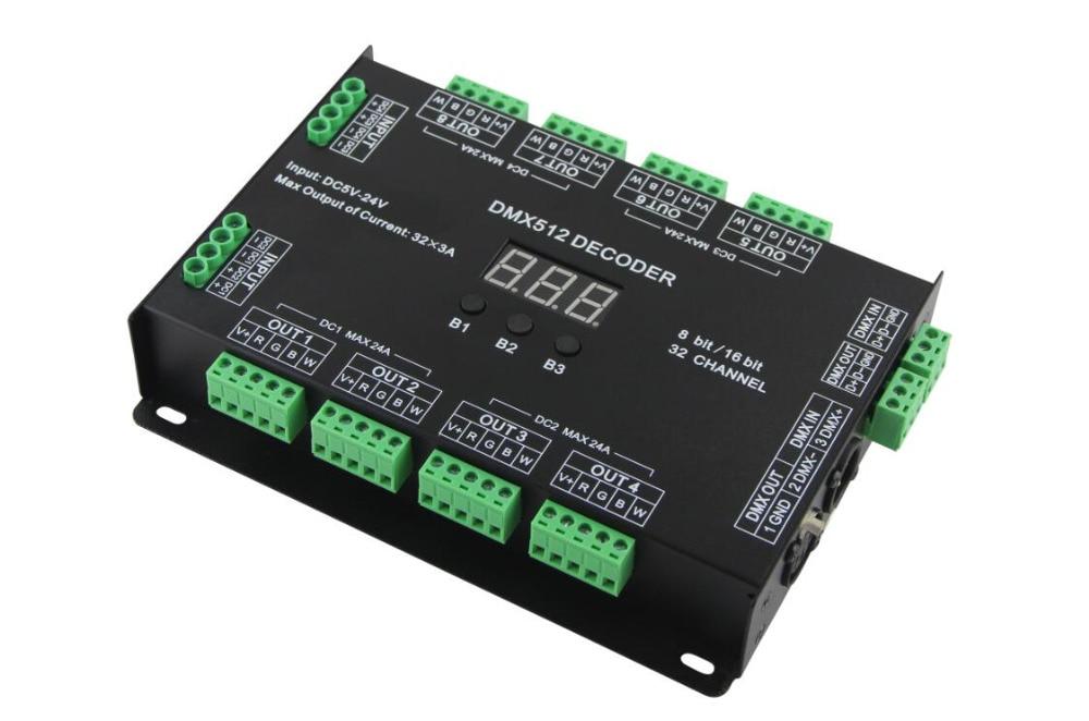 32 Channel 96A RGBW DMX 512 LED Decoder Controller DMX Dimmer DC5 24V RGBW RGB LED Light 8 Bit