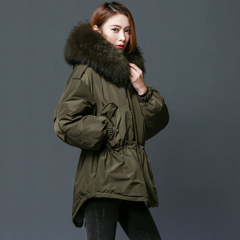 Women Parka 2018 Winter Jacket Women White Duck Down Coat With Large Natural Raccoon Fur Collar Hooded Long Down Coat Female