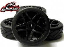4pc GWOLVES 1/8 RC 버기 GT 트럭 오프로드 온로드 레이싱 트랙 핫멜트 타이어 타이어 17mm 어댑터 휠 1/8 RC 자동차 부품