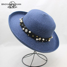 BINGYUANHAOXUAN 2018 Summer Hats For Women Pearl Beads Wide Jazz Panama Hat Cap Feminino Sun Visor Straw Beach Cappello